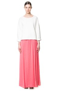 Long Silk Satin Skirt, $59.90, Zara
