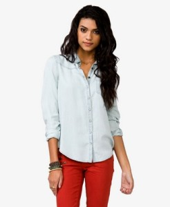 Pearl Snap Button Chambray Shirt, $24.80, Forever 21